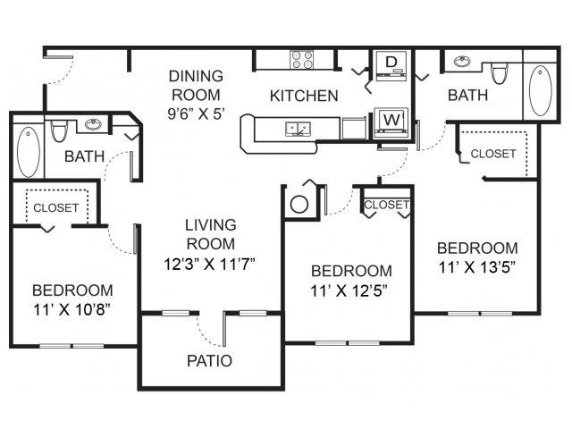 Three bedroom two bathroom C3 floorplan at Vista Lago Apartments in West Palm Beach, FL