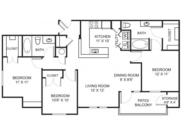 Three bedroom two bathroom C1 floorplan at Steeplechase at Shiloh Crossing Apartments in Avon, IN