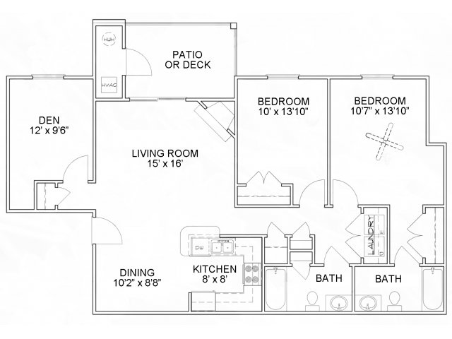 Two bedroom two bathroom B3D Floorplan at River Forest Apartments in Chester, VA