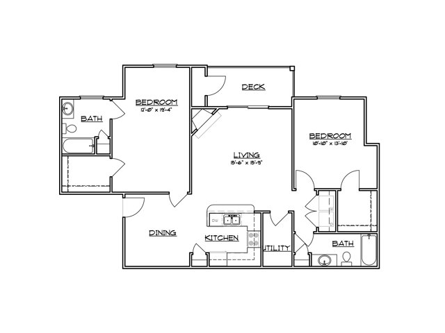 Two bedroom two bathroom B4 Floorplan at River Forest Apartments in Chester, VA
