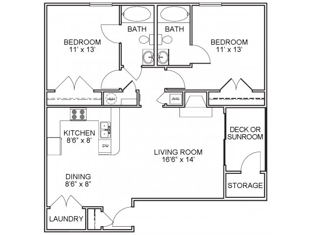 Two bedroom two bathroom B1 floorplan at The Belvedere Apartments in North Chesterfield, VA