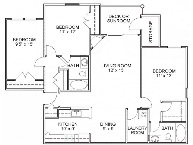 Three bedroom two bathroom C2 floorplan at The Belvedere Apartments in North Chesterfield, VA