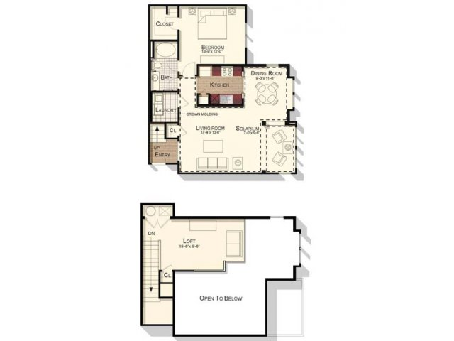 One bedroom one bathroom 1151 sqft loft floorplan at Southpoint Village Apartments in Durham, NC