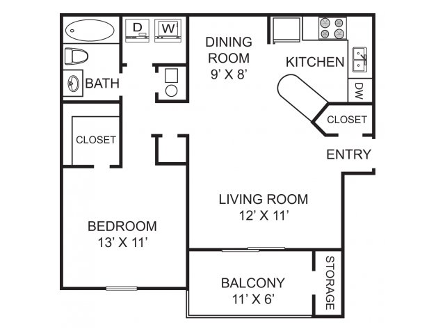 One bedroom one bathroom A2 Floorplan at Morgan Place Apartment Homes in Atlanta, GA