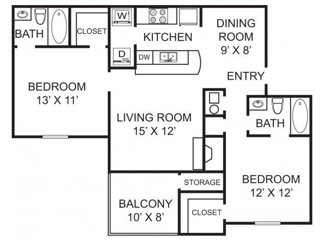 Two bedroom two bathroom B1 Floorplan at Morgan Place Apartment Homes in Atlanta, GA