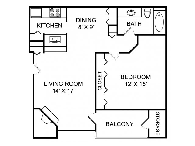 One bedroom one bathroom A1 floorplan at The Landings at the Preserve Apartments in Battle Creek, MI