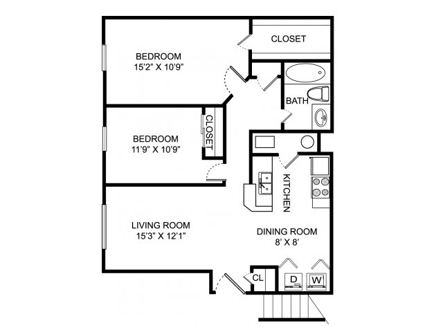 Two bedroom one bathroom B1 floorplan at Sterling Park Apartments in Grove City, OH