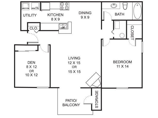 One bedroom one bathroom A2D floorplan at Summer Ridge Apartments in Kalamazoo, MI