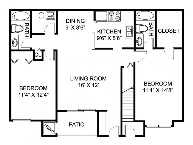 Two bedroom two bathroom B1 Floorplan at Oaks at Hampton Apartments in Rochester Hills, MI