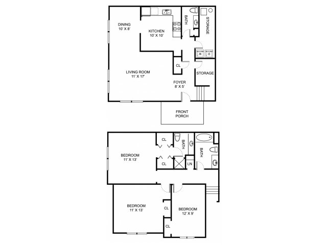 Three bedroom two and a half bathroom C1TH Floorplan at Oaks at Hampton Apartments in Rochester Hills, MI