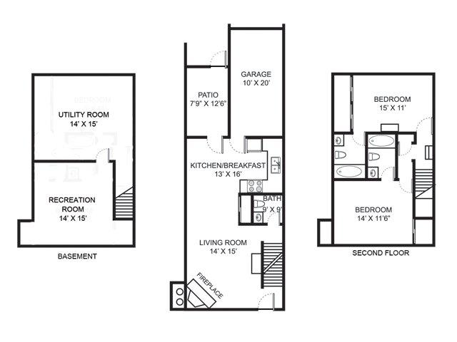Two bedroom two and a half bathroom B2 floor plan at Bedford Commons Apartments in Columbus, OH