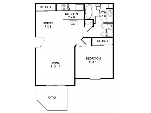 One bedroom one bathroom A1 Floorplan at Heathermoor and Bedford Commons Apartments in Columbus, OH