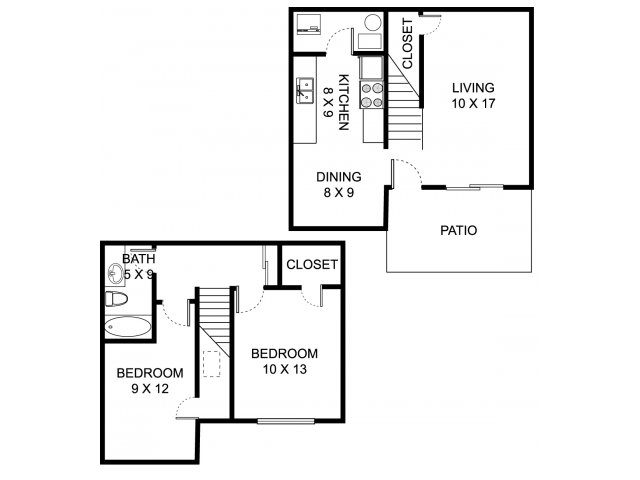 Two bedroom one bathroom B1TH Floorplan at Heathermoor and Bedford Commons Apartments in Columbus, OH