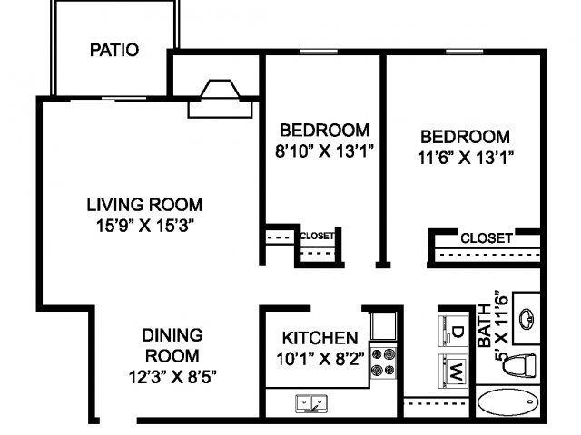 Two bedroom one bathroom B2 Floorplan at Mallard\'s Crossing Apartments in Medina, OH