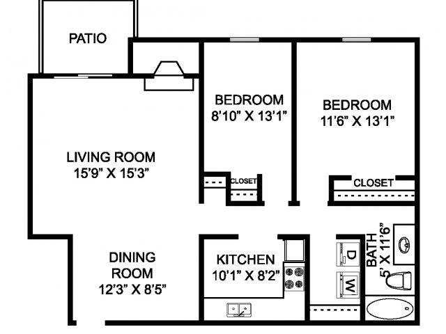 Two bedroom one bathroom B2 Floorplan at Mallard\'s Crossing Apartments in Medina, OH