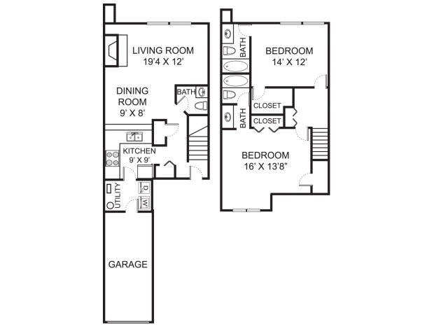 Two bedroom two and a half bathroom B2TH floorplan at The Residence at Christopher Wren Apartments in Gahanna, OH