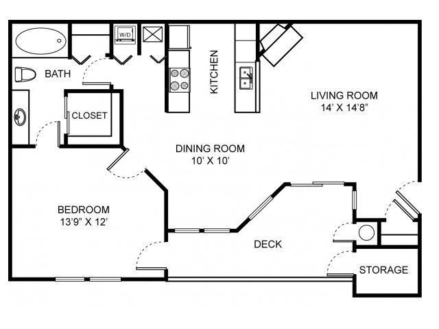 One bedroom one bathroom A1 Floorplan at Saw Mill Village Apartments in Columbus, OH