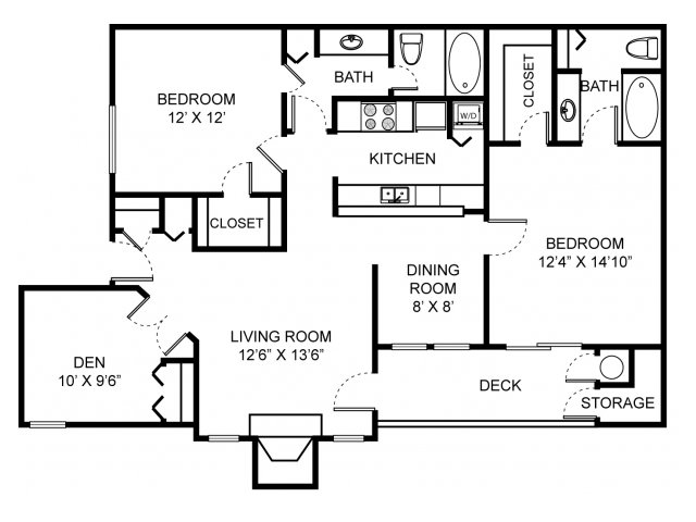 Three bedroom two bathroom B2D Floorplan at Saw Mill Village Apartments in Columbus, OH