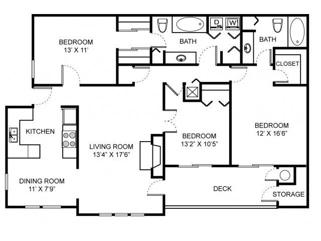 Three bedroom two bathroom C1 Floorplan at Saw Mill Village Apartments in Columbus, OH