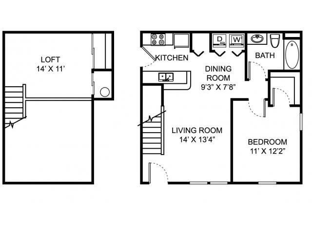 One bedroom one bathroom A1L floorplan at The Village of Western Reserve Apartments in Streetsboro, OH