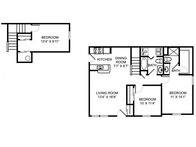 Three bedroom two bathroom C1 floorplan at The Village of Western Reserve Apartments in Streetsboro, OH
