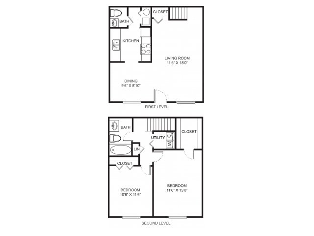 Two bedroom one and a half bathroom 1000 sqft floorplan at Westchester Townhomes Rental Homes in Westlake, OH