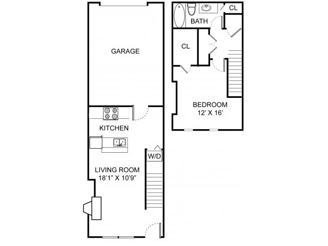 One bedroom one bathroom A2TH floorplan at Williamsburg Townhomes Rental Homes in Sagamore Hills, OH