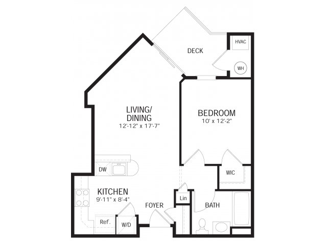 One bedroom one bathroom A1 Floorplan at Dwell Vienna Metro Apartments in Fairfax, VA