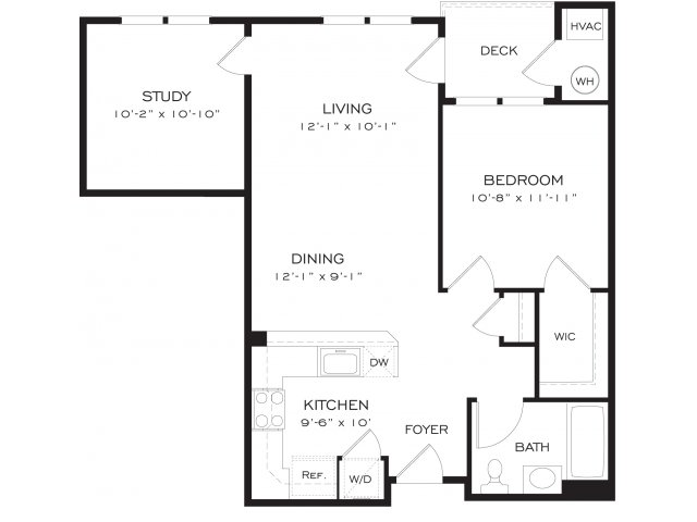 One bedroom one bathroom A3D Floorplan at Dwell Vienna Metro Apartments in Fairfax, VA