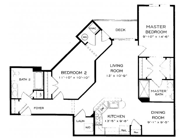 Two bedroom two bathroom B8 Floorplan at Dwell Vienna Metro Apartments in Fairfax, VA