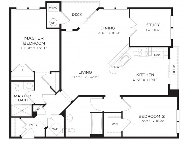 Two bedroom two bathroom B9DEN Floorplan at Dwell Vienna Metro Apartments in Fairfax, VA