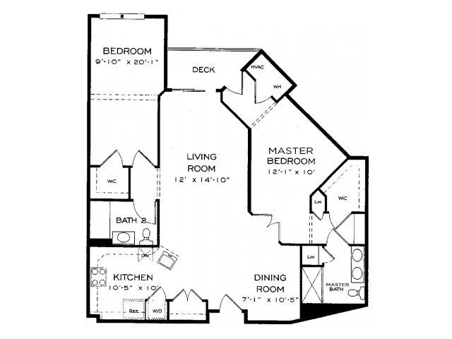Two bedroom two bathroom B10 Floorplan at Dwell Vienna Metro Apartments in Fairfax, VA