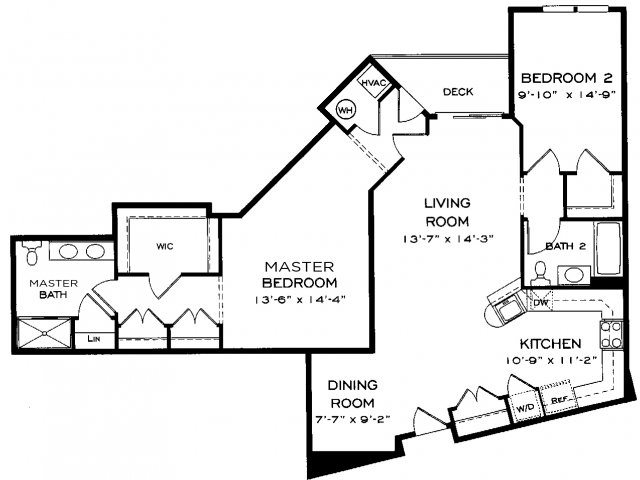 Two bedroom two bathroom B12 Floorplan at Dwell Vienna Metro Apartments in Fairfax, VA