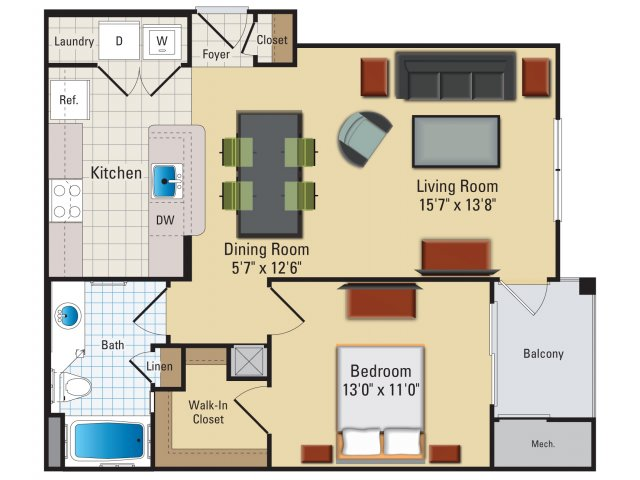 One bedroom one bathroom A3 Floorplan at Riverside Station Apartments in Woodbridge, VA