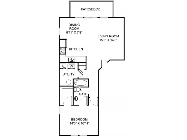 One bedroom one bathroom A1 floorplan at The Village at Avon Apartments in Avon, OH