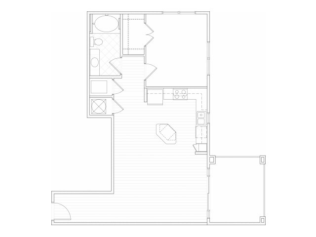 One bedroom one bathroom A11 floorplan at 1160 Hammond Apartments in Sandy Springs, GA