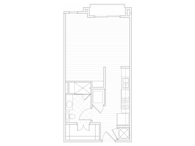 Studio one bathroom S1 floorplan at 1160 Hammond Apartments in Sandy Springs, GA