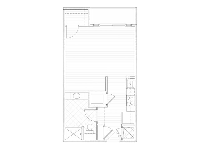 Studio one bathroom S2 floorplan at 1160 Hammond Apartments in Sandy Springs, GA