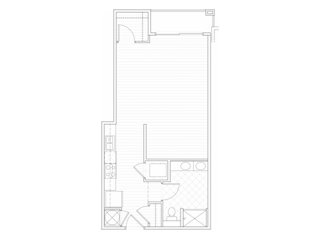 Studio one bathroom S4 floorplan at 1160 Hammond Apartments in Sandy Springs, GA