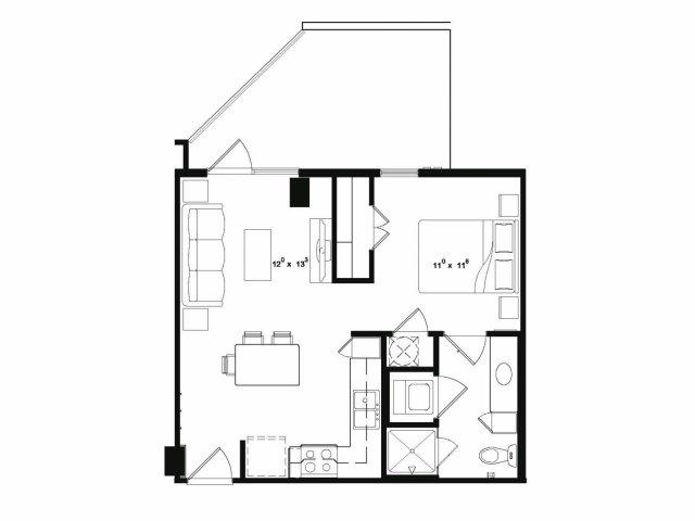 Studio one bathroom S1 floor plan at Cantabria at Turtle Creek Apartments in Dallas, TX
