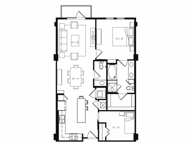 Two bedroom one and a half bathroom A6 floor plan at Cantabria at Turtle Creek Apartments in Dallas, TX