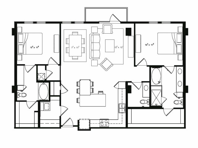 Two bedroom two and a half bathroom B5 floor plan at Cantabria at Turtle Creek Apartments in Dallas, TX