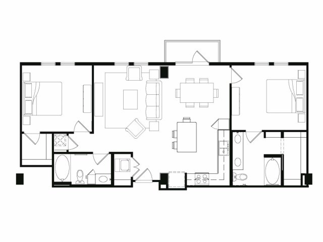 Two bedroom two bathroom B1 floor plan at Cantabria at Turtle Creek Apartments in Dallas, TX