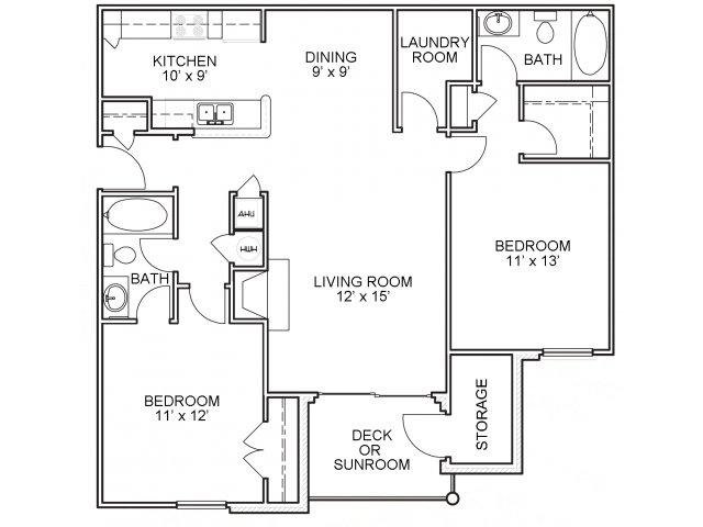 Two bedroom two bathroom B3 floorplan at The Belvedere Apartments in North Chesterfield, VA