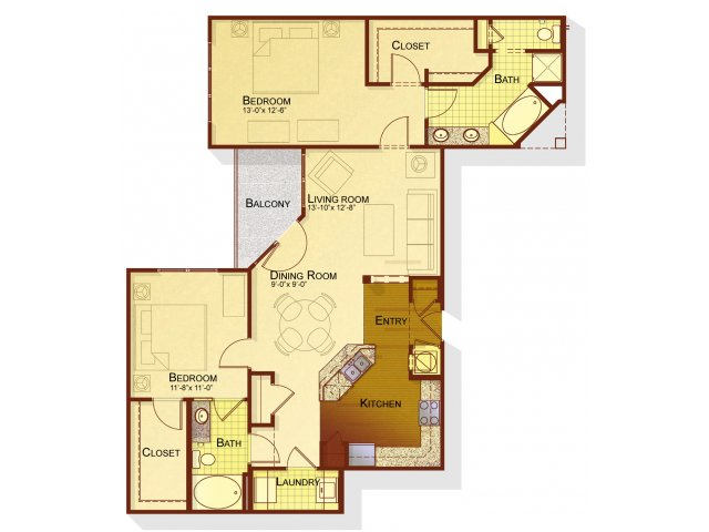 Two bedroom two bathroom B4 floorplan at Apartments at the Arboretum in Cary, NC
