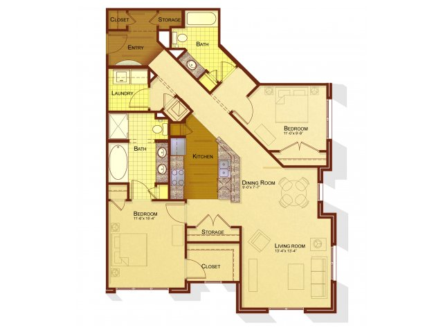 Two bedroom two bathroom B3 floorplan at Apartments at the Arboretum in Cary, NC