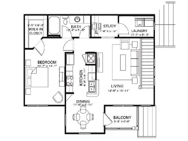 One bedroom one bathroom A1 floorplan at The Apartments at Blakeney in Charlotte, NC