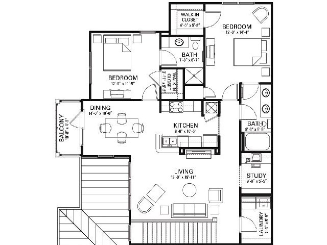 Two bedroom two bathroom B2 floorplan at The Apartments at Blakeney in Charlotte, NC