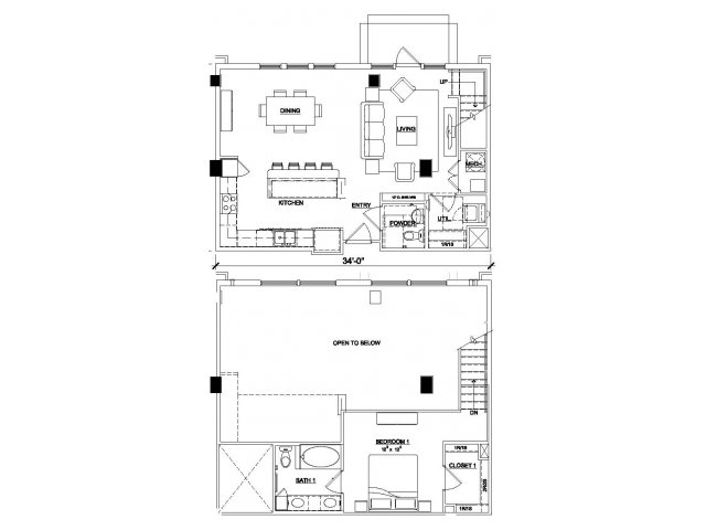 One bedroom one and a half bathroom A7 floor plan at Cantabria at Turtle Creek Apartments in Dallas, TX
