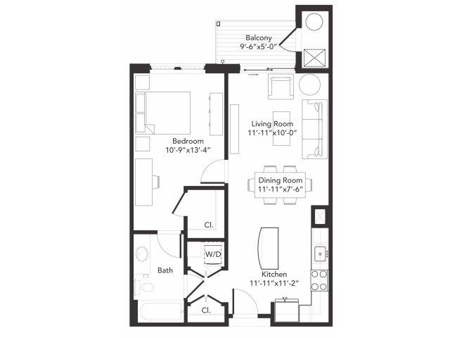 One bedroom one bathroom A5 floorplan at 7001 Arlington in Bethesda, MD